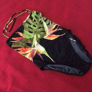 Tropical print one-piece swim suit